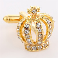 Wholesale king crystal resale online - Mens Cufflinks Fathers Day Gifts Full Rhinestones Crown Shirt King Queen Wedding Groom Tuxedo Jewelry Fashion Classic French Crystal
