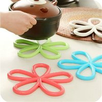 Wholesale Kitchen Hot Pads - Wholesale Creative candy color plum modeling hot insulation pad non - slip table PVC pot pad kitchen placemat disk pad coaster