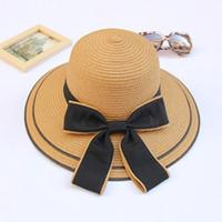 einstellbarer faltbarer strohhut großhandel-Khaki Strohhüte für Dame Fashion Summer Beach Floppy Strohhüte mit Bogen verstellbarer breiter Krempe Hut Frauen faltbare Hüte