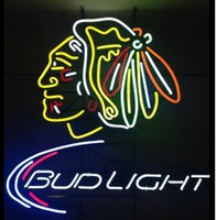 ingrosso neon luminoso di bud-Personalizzato New Bud Light Chicago Blackhawk Real Glass Neon Sign light Birra Bar Sign Invia bisogno di foto 19x15