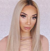 Wholesale 1b 613 front wig for sale - 613 with Dark Root Blonde Full Lace Wigs Ombre Human Hair Wig Front Lace Color B Straight