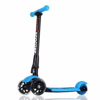 складывающиеся колеса оптовых-US Ship Blue Scooters Allek Foot Kick Scooter Folding 3 Wheels with LED Light Up T-bars for Kids