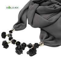 Wholesale Choker Scarf Necklace - whole saleFlower Chiffon scarf necklace for women rose boho collar choker female luxury turban lic bandana solid black bohemian jewelry