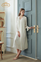 camisolas de gaze branca venda por atacado-100% Algodão Macio Gaze Princesa Estilo Camisola Branca das Mulheres Longas Pijamas Pijamas Vintage roupao feminino