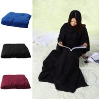 Wholesale snuggie blanket wholesale - Soft Warm Fleece Snuggie Blanket Robe Cloak With Cozy Sleeves Wearable Sleeve Blanket Wearable Lazy Blanket 5Colors 12pcs OOA2580
