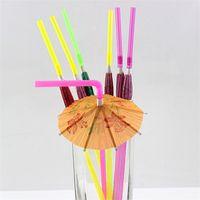 ingrosso paglie ombrello-Artigianato Cannuccia per bambini Festa di compleanno Matrimonio Fluorescenza Ombrello Decor Cannucce Bar Forniture di plastica monouso Decorazione 0 1ys YY