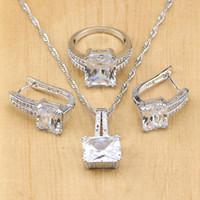 conjuntos de contas brancas para casamento venda por atacado-frisado set bonito 925 Sterling Silver White CZ Beads conjuntos de jóias para mulheres Brincos de casamento pingente / / colar / Anéis