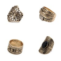 Liga 4Pcs / Set Anéis Oco Carved Retro Ring Black Gemstone Diamond Ring Set palácio modelos de temperamento DHL D458Q grátis
