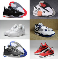 Wholesale Pure Leather Shoes For Men - 2018 Traderjoes With Box Mens and Womens Basketball Shoes Sneakers for Men 4S White Cement Motorsport Pure Money Bred Fire Red Boots