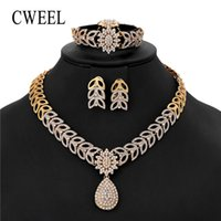 ingrosso gioielli imitazione nuziale-CWEEL Donna Africana Beads Jewelry Set Bridal Heart Ciondolo Party Fashion Jewellery Imposta Imitation Crystal Costume Jewellery