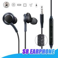 kenar kulaklıklar toptan satış-Samsung S8 Kulaklık Kulakiçi Mikrofonlar için Kulak Kablolu Kulaklık Samsung S6 S7 Kenar Perakende Paketi Ile 3.5mm Mic Stereo Kulaklık