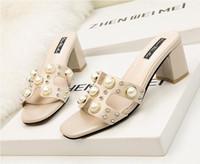 ingrosso tacchi spessi coreani-La versione coreana dei sandali fashion estivi si ispira ai sandali con tacco a spillo Pearl Liuli da donna