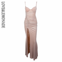 Wholesale Sexy Glitter Club Dresses - Love&Lemonade Sexy Nude V-Neck Pleated Decoration Glitter Knit Material Maxi Dress LM0955