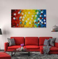 ingrosso pittura a olio di arte a parete fiori bianchi-Quadro moderno della parete della tela di canapa del pannello di parete astratto strutturato della pittura a olio del fiore del fiore bianco Decorazione domestica senza cornice 50 * 100cm