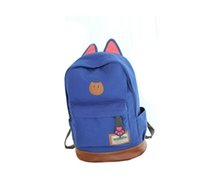 katzenschultasche rucksäcke großhandel-Bokslon Campus Frauen Mädchen Rucksack Reisetasche Junge Leinwand Männer Rucksack Marke Mode Schule Einfache Katze Ohren Taschen Für Jungen