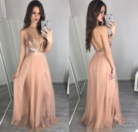 Wholesale white red roses prom for sale - Group buy 2018 Unique Rose Gold Sequins Prom Dresses Sexy Deep V Neck Backless Prom Dress Vestidos Cheap Evening Party Gowns