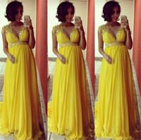 ingrosso vestito chiffon giallo per incinta-2018 Abiti da ballo per le donne incinte Chiffon giallo brillante Impero Abiti da sera per feste con perline