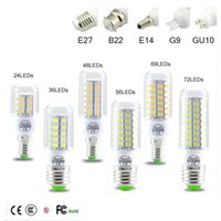 Wholesale SMD5730 E27 GU10 B22 E14 G9 LED lamp W W W W W V V angle SMD LED Bulb Led Corn light