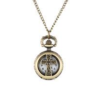 кросс часы женщина оптовых-New Vintage Bronze Crucifix Cross Hollow Quartz Pocket Watch Necklace Pendant Women Men's Gifts LXH