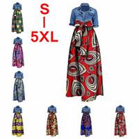 Wholesale womens plus size long skirt - Womens African Print High Waist Full Skirt Dashiki Maxi Long Ball Gown Plus Size + Waist Belt