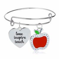 lehrer tag geschenke großhandel-12 Teil / los Lehrer Tag Geschenk Herz Apple Charms Armreif Liebe Inspirieren lehren Armband Lehrer Schmuck Für Frauen Männer Lehrer Armreifen