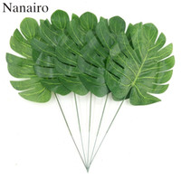 Wholesale Artificial Plant Large - 50pcs Large Silk Artificial Green Leaf Tropical Palm Foliage Leaves For Hawaiian Theme Party Wedding Home Garden Decorations