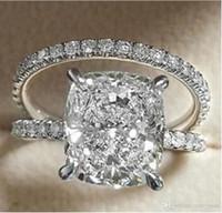 anillo de boda conjunto amortiguador al por mayor-Tamaño 6-10 Victoria Wieck Joyería de Lujo 925 Forma de Cojín de Plata de ley Topacio Blanco CZ Diamond Mujeres Boda Anillo de Boda Conjunto de Regalo conjunto