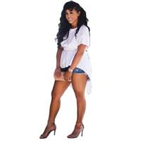 ingrosso gialle camicette estive-Camicette e camicette da donna Camicetta bianca gialla Camicie sexy Tunica Irregolare posteriore Papillon T-shirt manica corta estiva