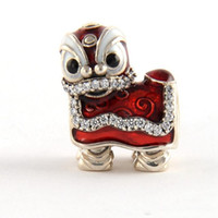 Wholesale Chinese Lions - Chinese Lion Dance charms S925 sterling silver fits for pandora style bracelet free shipping H8