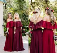 longitud formal modesta vestidos al por mayor-Off The Shoulder Berry Chiffon Wedding Guest Bata 2019 Modest Floor Length Formales vestidos de dama de honor baratos de la venta caliente