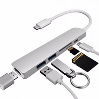 macbook orange großhandel-6 Port Typ C zu USB 3.0 Konverter Unterstützung 4K HDMI Adapter USB Hub mit Kartenleser für Macbook Pro