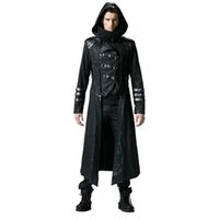 Wholesale Long Black Coat Gothic - Gothic Black Winter Men's Long Coat Steampunk Twill High Collar Jackets Punk Leather Coats Overcoats with Detachable Hem and Hat