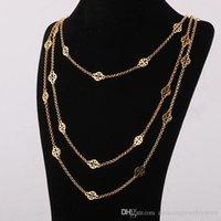 miao silberne ornamente großhandel-Top Marke Messing Material Ornament hohlen Anhänger in drei Schichten Gold und Silber überzogene Länge der Halskette 68cm / 77cm / 88cm für Frauen Schmuck