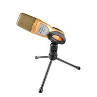chatten mikrofon großhandel-Kondensator-Mikrofon 3,5 mm Audio Wired Stereo-Mikrofon mit Ständer Halter Clip für PC Chat singen Karaoke Laptop