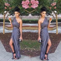 Wholesale Strapless Wedding Dresses Vests - Vestido de festa Ruffles One Shoulder Chiffon Bridesmaid Dresses Purple lavender Plus Size Cheap Dress to Wedding Party