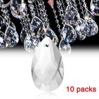 bırak hafif kolye toptan satış-10 Adet / paket Temizle Sanat Cam Avize Kolye Işık Lambası Parçası Asılı Damla Prizmalar DIY Aksesuarları Kristal Kolye Parçaları