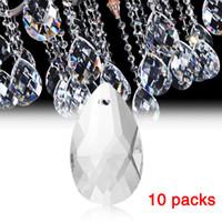 piezas de cristales de araña de cristal al por mayor-10 Unids / pack Claro Arte Gotas de Cristal Araña Colgante Lámpara de Luz Parte Colgando Prismas Accesorios de Cristal DIY Accesorios