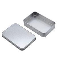 ingrosso palette usb-Semplice scatola di latta d'argento 88mm * 60mm * 18mm rettangolo bustina di tè scatola di immagazzinaggio scatole di immagazzinaggio usb caso organizzatore vari