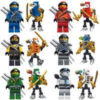 ingrosso ninja blocca i giocattoli-Assemblare Ninja Kai Cole Titanium Zane Jay Lloyd con Mini Nano Titan Samurai Thunder Fire Mech ElectroMech Ninja Figure Building Block Toy