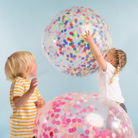 Wholesale Round Display Clear - 36 Inch Clear Latex Balloon +Gold silver Round Heart Confetti Pink Blue Birthday Party Wedding Throw Decoration