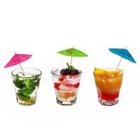 принадлежности для зонтов оптовых-Творческий мини-коктейль зонтики зубочистка 3D зонтики фрукты вилка для Гавайи Пляж праздничные атрибуты декор A2075c