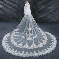 BessWedding 1Tier Wedding Bridal Veils Lace Cathedral Lace Applique Edge Veils