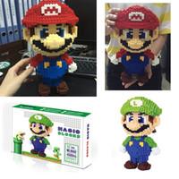 commander des boîtes en plastique achat en gros de-Bande dessinée classique Mario DIY Magic Blocks Building Block jouets Intelligence jouets puzzle enfants cadeaux