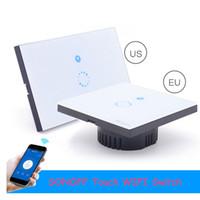 wifi lichtschalter großhandel-Sonoff Touch US EU Stecker Wand Wifi Lichtschalter Glasscheibe Touch LED Lichter Schalter für Smart Home Wireless Remote Switch Control