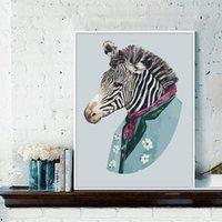 zebra wandmalereien großhandel-Aquarell Zebra Leinwand Malerei Nordic Minimalist Triptychon Gemälde Home Wall Decor Poster Bild Kunst Wohnzimmer Schlafzimmer