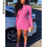 ingrosso vestiti lunghi dal manicotto lungo rosa caldo-SEXEMARA Hot Pink Fluffy Women Sweater Dress Autunno Inverno 2018 Casual Sexy manica lunga aderente Abiti Clubwear C77-I22