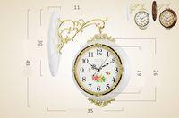 ingrosso orologi da parete moderni-Orologi da parete bifacciali creativi in legno massello Soggiorno muto Batteria pensile pastorale Orologi minimalisti moderni a parete