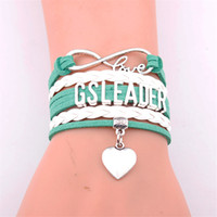 führer geschenke großhandel-Infinity Love Girl Scouts Armband Herz Charme Geflochtenes Leder GS Leader Braceletbangles Schmuck Weihnachtsgeschenk Drop Shiping