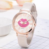 leather dress accessories Australia - Luxury fashion watches Women Creative Lips Kiss PU leather quartz wristwatches Dress ladies casual watch Relogio Masculino Clock Accessories