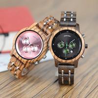 bobo relojes al por mayor-BOBO DE AVES relojes de las mujeres de lujo del cronógrafo de cuarzo reloj de lujo Fecha Versátil Relojes de madera acepte la insignia de envío de la gota Y18102310